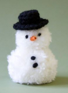 Lion Brand® Pom-pom Snowman #craft #snowman #winter