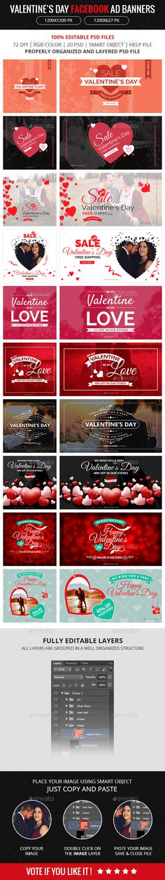 Facebook Ad Banners for Valentines Day Template PSD