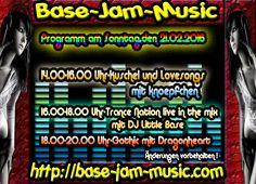 Am Sonntag gibt es buntes Programm für Euch zum Kuscheln,feiern und Party machen auf http://base-jam-music.com