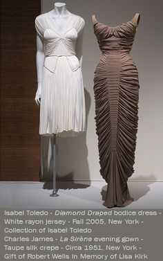 "The manipulation of a garment's ground fabric is one method that   Americans have used to create ornamentation. Two dramatic   examples are Charles James's La Sirène evening dress, which is   both ornamented and shaped using horizontal pin tucks, and Isabel   Toledo's ""patchwork"" dress, made from several finely fluted panels.   Ralph Rucci's evening dress is constructed from bands of fabric   knotted on top to create a mesh-covered bodice, then unfurled to   make the 117-piece, gored skirt."