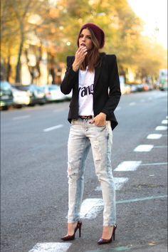 Ciclo Longo Seja boca de sino, skny, colorida ou de uma cor a calça jeans sempre presente. MODA - CALÇA JEANS DESTROYED - Juliana Parisi - Blog                                                                                                                                                                                 Mais