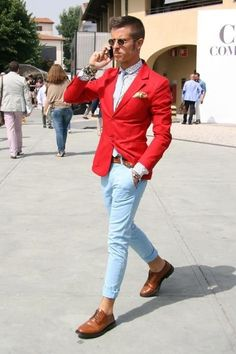 OMG, Bright Red Suit Jacket with denim is hilarious ⋆ Men's Fashion Blog - #TheUnstitchd
