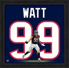 Featured is a JJ Watt framed Houston Texans jersey photo. This photo has been professionally framed and is approximately 20x20. **Note: This photo is not signed.**