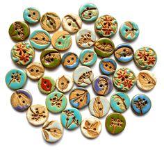 Capri Blue Stoneware Leaf Button Handmade by Bohulleybeads