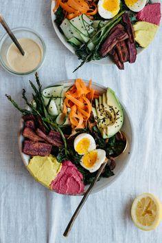 Spring Rainbow Bowl w/ Honey Mustard Tahini | dolly and oatmeal #spon
