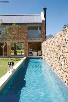 Architect Chris Wood of Studio C boldly reinterprets the Cape vernacular farmhouse into a contemporary family home in the Winelands. VISI spoke to him about the design. Indoor Pools, Small Indoor Pool, Small Backyard Pools, Backyard Pool Designs, Small Swimming Pools, Best Swimming, Swimming Pools Backyard, Swimming Pool Designs, Kleiner Pool Design