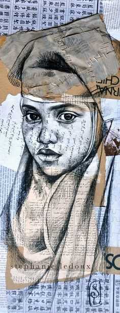 Stephanie LeDoux I like this work because of the collage underneath the drawing and the drawing on top Art And Illustration, Illustrations, Pintura Graffiti, Studios D'art, Art Du Collage, Street Art, Ledoux, Kunst Online, Ap Studio Art