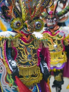 Masked Performers in a Parade at Oruro Carnival, Oruro, Bolivia, South America Lámina fotográfica por Christian Kober en AllPosters.es