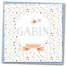 Les-Libellules - Confetti - Faire-part Naissance - Un faire-part naissance tout délicat pour une fille ou un garçon, avec un motif aux mille confettis multicolores, et un petit oiseau tout gai d'annoncer la grande nouvelle !