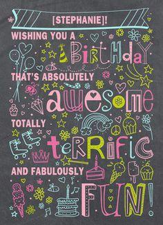 Birthday Doodles Girl Birthday Card