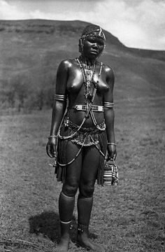 Ngwane girl in traditional dancing dress, Hoffenthal, Bergville district, KwaZulu-Natal, South Africa