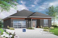 Plain-pied contemporian idéale pour mobilité réduite ou baby-boomers, très économique, 2 grande chambres, garage, grande terrasse arrière couverte ! http://www.dessinsdrummond.com/detail-plan-de-maison/info/1003105.html