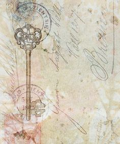 Key, postmark, writing, grunge backgroun