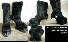 Black hoof boots with dew claw by ~Artsquish on deviantART (I'd so wear these under a long skirt)