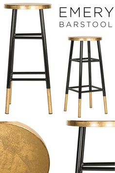 Safavieh Furniture - Retro charm meets modern glamour in this Emery Bar Stool. Gold Bar Stools, White Counter Stools, Bar Chairs, Dining Chairs, Room Chairs, Art Deco Furniture, Dining Furniture, Luxury Furniture, Furniture Design