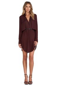 Wine Red Long Sleeve Pockets Shift Dress - Sheinside.com