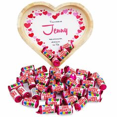 Personalised Heart Tray Filled with Love Heart This stunning handmade wooden heart tray makes the perfect gift to show someone you love them. Packed with around 45 mini love heart rolls A personalised heart shaped card can be placed in the base of http://www.MightGet.com/january-2017-13/personalised-heart-tray-filled-with-love-heart.asp