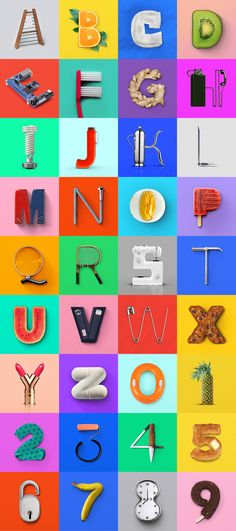 36 Days of Type is a yearly open call inviting designers, illustrators and visual artists to share their view on the letters and numbers of our alphabet. I decided to play with common objects and distort them to make letterforms.