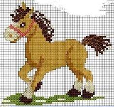 At ( görse ) Cross Stitch Horse, Cross Stitch For Kids, Cross Stitch Baby, Cross Stitch Animals, Cross Stitching, Cross Stitch Embroidery, Cross Stitch Designs, Cross Stitch Patterns, Modele Pixel Art