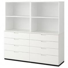 Freshen up your home with ELVARLI 3 sections, white. ELVARLI storage system adapts to your space. The open solution with durable bamboo shelves creates an attractive display of your belongings. Ikea Storage, Bedroom Storage, Storage Cabinets, Storage Units, Dorm Storage, Shelving Systems, Tv Cabinets, Storage Solutions, Storage Ideas