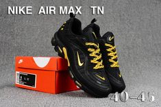 Nike Air Max Tn KPU Black Gold Men's Running Shoes Sneakers Nike Air Max Tn, Nike Air Max Plus, Nike Air Vapormax, White Sneakers, Air Max Sneakers, Shoes Sneakers, Shoes Men, Mens Nike Air, Nike Men