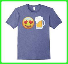 Mens Emoji Love Beer Mug Drink Funny Trending T-Shirt Small Heather Blue - Food and drink shirts (*Amazon Partner-Link)