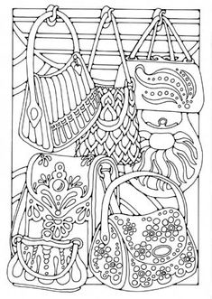 ☮ American Hippie Art ☮ Adult Coloring Page Zentangle .. Bags