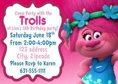 Invitación del cumpleaños de trolls Trolls amapola invitación