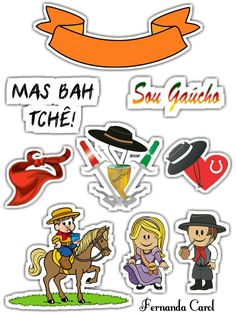 Topper Gaúcho Gaucho, Rio Grande Do Sul, Cute Pictures, Stickers, Digital, Disney Characters, Cake Toppers, Conch Fritters, Youth Decor