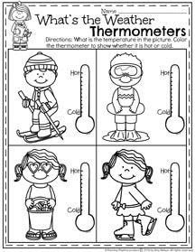 Preschool Weather Worksheets for January.