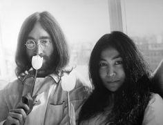 John Lennon and Yoko Ono during their honeymoon, 1969.