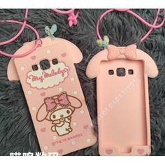 Carcasa rosa chica muñeco divertido con orejas para Samsung Galaxy A5