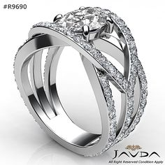Halo Pave Set Round Diamond Shiny Engagement Ring GIA F VS1 18k White Gold 2.7ct