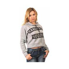 Pilot Ashleigh Hangover Slogan Crop Hoodie Top (€23) ❤ liked on Polyvore featuring tops, hoodies, grey, cropped hooded sweatshirt, grey hoodie, hoodie crop top, grey hoodies and cropped hoodies