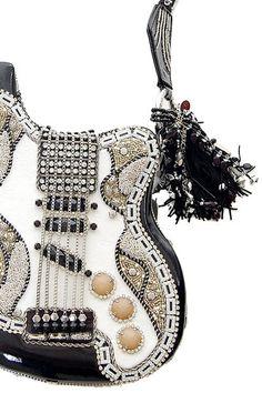 MARY FRANCES Graceland Guitar Evening Bag - Unique Vintage - Cocktail, Evening, Pinup Dresses