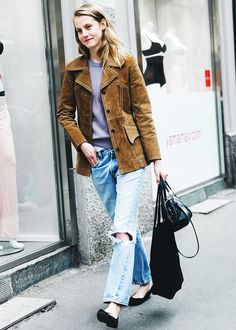 These 9 Outfits Were Meant for Flats via @WhoWhatWear