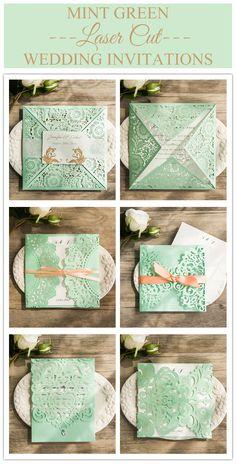 elegant mint green laser cut wedding invitations @elegantwinvites