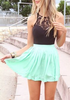 black halter top with lace inset, turquoise skirt, sophisticated, girly, fun, spring