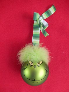Grinch Ornament by SpreadingCheer365 on Etsy, $10.00 Hand painted by yours truly :)