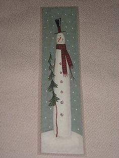 Primitive Christmas Holiday Tall SKINNY Snowman Laminated Book Mark for sale online Primitive Christmas, Christmas Wood Crafts, Pallet Christmas, Christmas Tree Painting, Christmas Signs Wood, Rustic Christmas, Christmas Projects, Christmas Art, Holiday Crafts