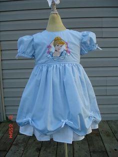 Disney custom PRINCESS CINDERELLA DRESS w/ Embroidered Cinderella (-----)12 Months to Girls size 8 $35