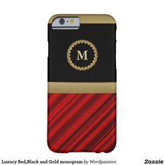 Luxury Red,Black and Gold monogram