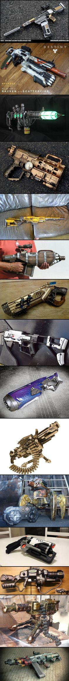 These Custom Nerf Guns Are Just Insane! (They may just be Nerf but hot dang! Arma Steampunk, Steampunk Weapons, Sci Fi Weapons, Concept Weapons, Weapons Guns, Fantasy Weapons, Steampunk Costume, Cosplay Weapons, Cosplay Diy