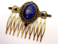Elegant hair comb in bronze with lapislazuli colored gemstone - pinned by pin4etsy.com