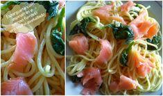 Esparguete com espinafres e salmão fumado em molho aveludado