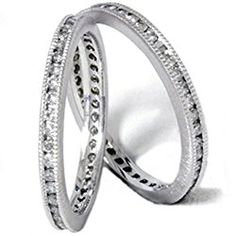 1ct Stackable Eternity Wedding Guard Rings 14K Set