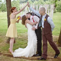 The Maid of Honor and Best Man are just as excited as the Bride and Groom!