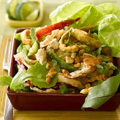 Thai chicken salad- A store-bought rotisserie chicken takes most of the prep work out of this salad recipe tossed with a yummy peanut butter dressing. Put this main dish on the table for your family in less than 30 minutes. Thai Recipes, Asian Recipes, Cooking Recipes, Healthy Recipes, Cooking Tips, Thai Chicken Salad, Chicken Salad Recipes, Good Food, Yummy Food
