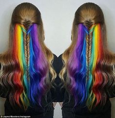 Women show off their hidden 'secret rainbow' hair colour on social media | Daily Mail Online