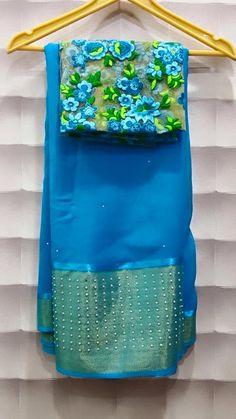 Chiffon pearl work saris with Gujri Blouses Price : 3500